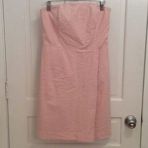 Vineyard Vines Pink Faux Wrap Seersucker Dress